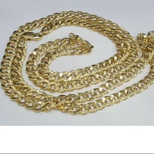 """10K Real Gold Cuban Chain 7MM 22"""" Necklace"""